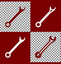 Crossed wrenches sign bordo and white vector