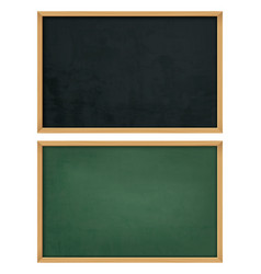 Empty black board with wooden frame vector