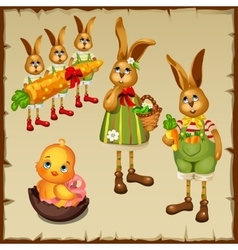 Family of rabbits and chicken in chocolate egg vector image vector image