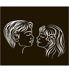 first kiss in white on black colours vector image vector image