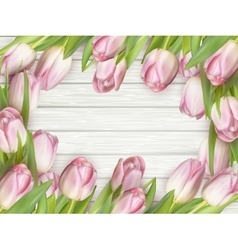 Frame of pink tulips EPS 10 vector image