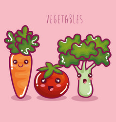 fresh vegetables funny character vector image