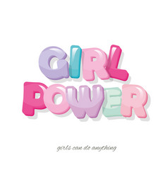 girl power inscription cartoon glossy letters in vector image