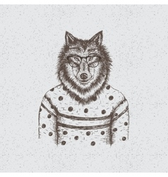 Hipster wolf dressed in the blouse vector image vector image
