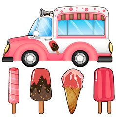 Ice cream truck and many ice cream vector image vector image