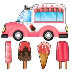 Ice cream truck and many ice cream vector