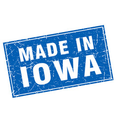 Iowa blue square grunge made in stamp vector