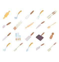 kitchen tools icon set cartoon style vector image