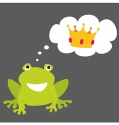 Prince or princess frog dreaming about crown vector image