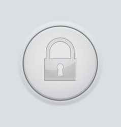 Round button with lock sign on gray interface vector