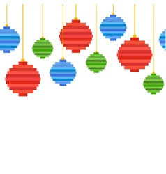Seamless border from pixel art christmas tree ball vector