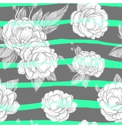 seamless ornament with hand drawn peony flower vector image vector image
