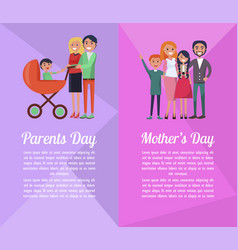 Set of banners devoted to parents mother s days vector