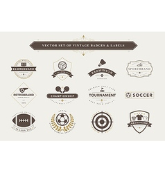Set of vintage sport badges and labels vector image