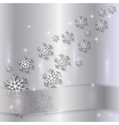 Silver plate with snowflakes and ribbon vector