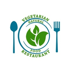 Vegetarian natural food restaurant icon vector image