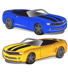 Yellow and blue sport car without top vector