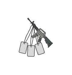 M4 carbine dog tags hanging drawing vector