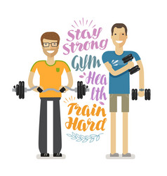 People in gym sport bodybuilding concept vector