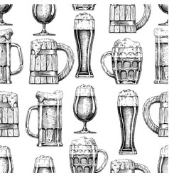 Seamless pattern with different beer glasses and vector
