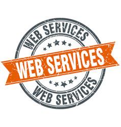 Web services round grunge ribbon stamp vector