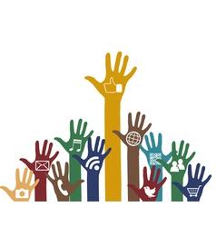 Social media icons in hands vector