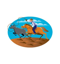 Cowboy riding horse lasso bull cow vector