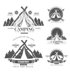 Camping retro logo vector