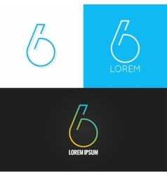 Number six 6 logo design icon set background vector