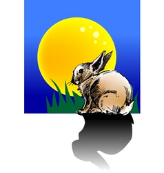 Rabbit moon vector