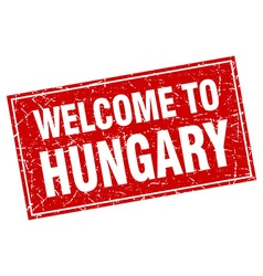 Hungary red square grunge welcome to stamp vector
