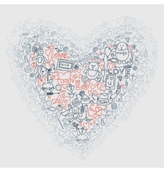 Hand drawn love doodle icons vector