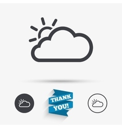 Cloud and sun sign icon weather symbol vector