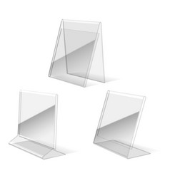 Clear plastic holder icons vector image