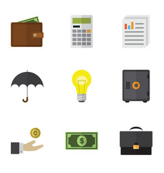 flat icon gain set of greenback strongbox vector image