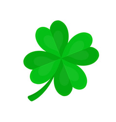 four-leaf clover for luck flat cartoon vector image vector image