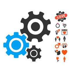 gear mechanism icon with love bonus vector image