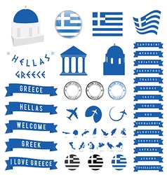 Greek travel symbol and map vector image vector image