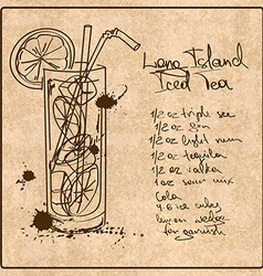 Hand drawn long island iced tea cocktail vector