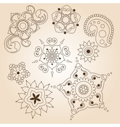 Henna tattoo doodle set Mehndi linear elements on vector image