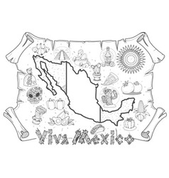Mexico map for top view of tourism promotional vector