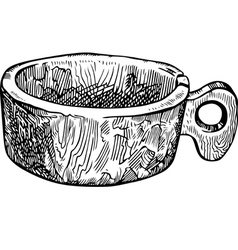 Old wooden cup vector image