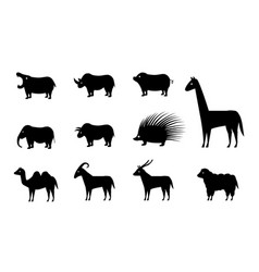 set of animal icons in silhouette style vector image vector image
