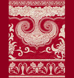set of seamless borders on red textured background vector image vector image