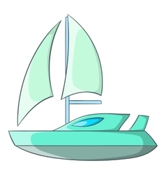 Speed boat with sail icon cartoon style vector image vector image