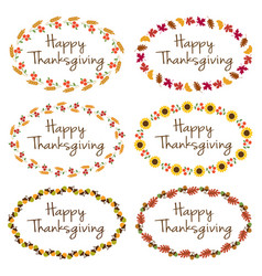Thanksgiving graphics with oval frames vector
