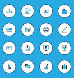 Trade colorful icons set collection of statistics vector