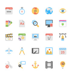 web design flat colored icons 1 vector image vector image