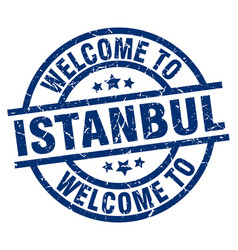 Welcome to istanbul blue stamp vector