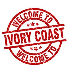 Welcome to ivory coast red stamp vector